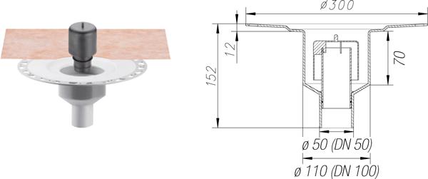 KERDI-DRAIN KDBV50GV - Sumidero plato ducha salida vertical y sifón para interior DN50