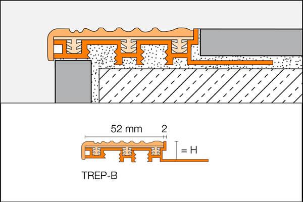 Profils de marche avec caoutchouc antidérapant ou nez de marche TREP-B