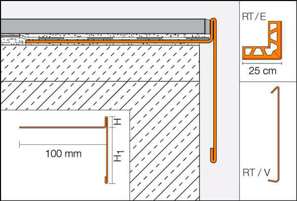 Splice for T-shaped gutter profile, in lacquered aluminum, for finishing balconies and terraces - BARA-RT
