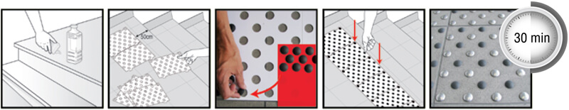 Self-adhesive composite overlay tactile studs or podotactile routing