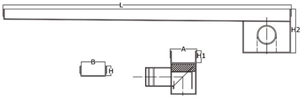 Canaleta y rejilla inoxidable 50 mm salida horizontal lateral con sifón para platos de ducha de obra