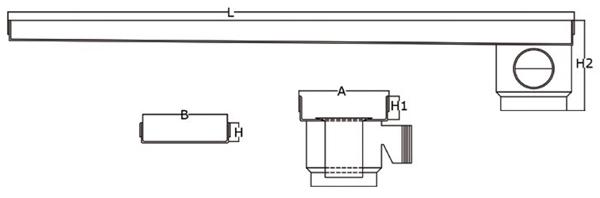 Canaleta y rejilla inoxidable salida horizontal lateral con sifón para platos de ducha de obra