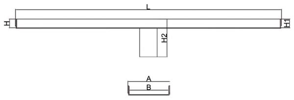 Canaleta y rejilla inoxidable 90 mm salida vertical central sin sifón para platos de ducha de obra