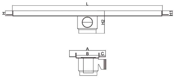 Kit canaleta de ducha, rejilla inoxidable y accesorios - Salida central