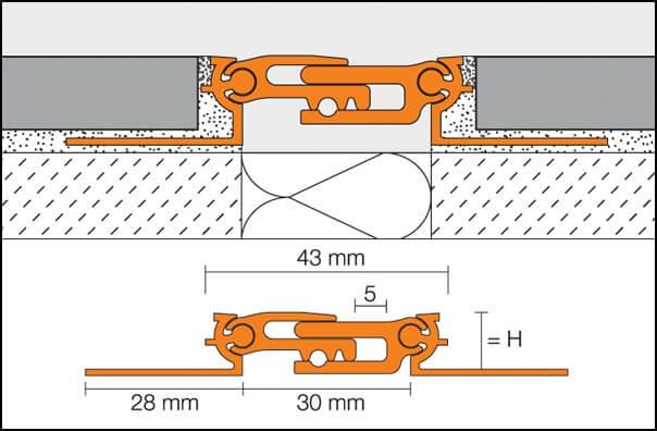 Aluminum structural expansion joint model DILEX-BT