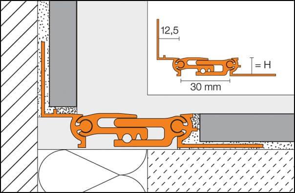 Joint de dilatation structurel en aluminium modèle DILEX-BTO