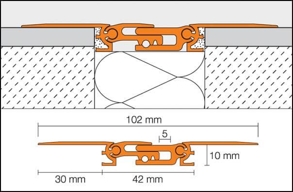 Giunto di dilatazione strutturale in alluminio modello DILEX-BTS