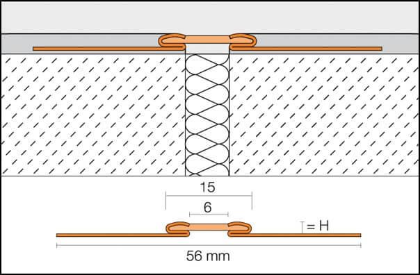 Giunti di dilatazione o giunti di movimento per ceramiche DILEX-EKSB