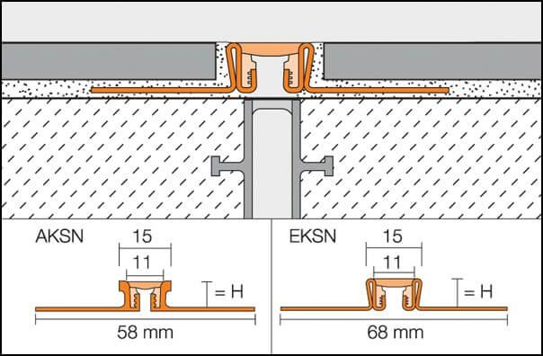 Juntas de dilatación o juntas de movimiento para cerámica DILEX-KS