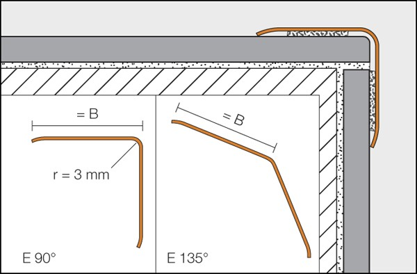 Overlapping stainless steel corners profile - ECK-K