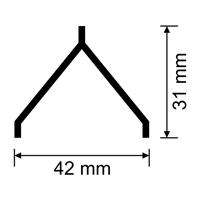 Guardavivos de PVC oculto para morteros monocapa de 42x31 mm