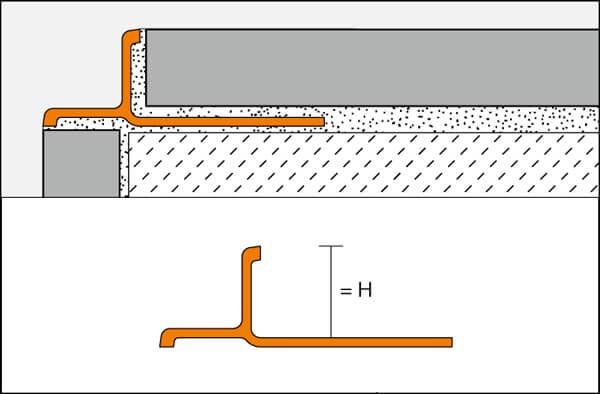 Angle-shaped aluminum edge profile INDEC model