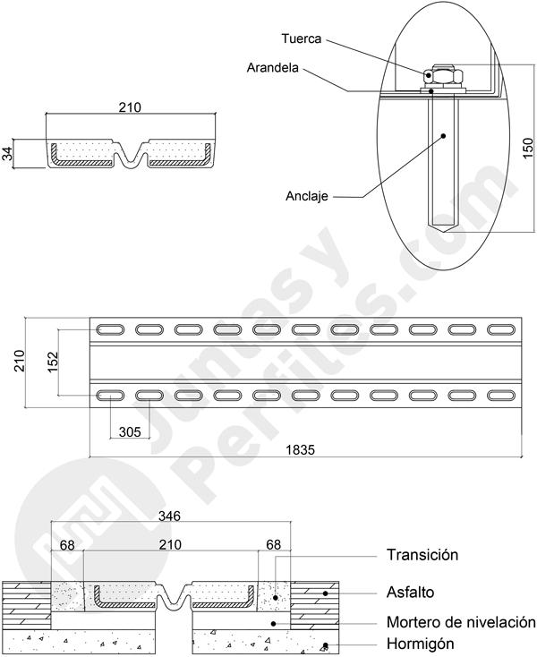 Joint de dilatation élastique pour ponts hautement élastiques JDP-50