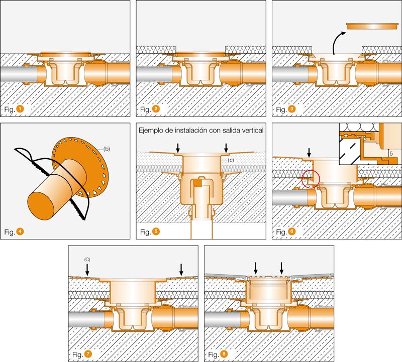 Instalación Kerdi-Drain KDBH50GV - Desagüe plato ducha salida horizontal y sifón para interior