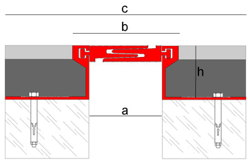Structural expansion joint made of aluminum with smooth finish