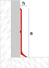 Anodized aluminum skirting board or metallic plinth
