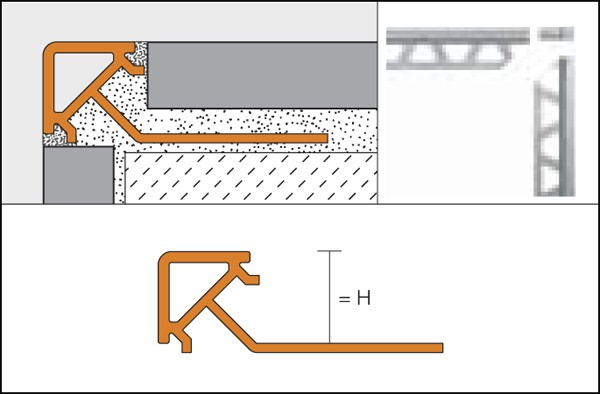 Profilé de bord de tuile en PVC colorés - QUADEC-PQ
