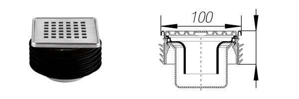 Modelo de rejilla de sumidero con sifón y retén labial