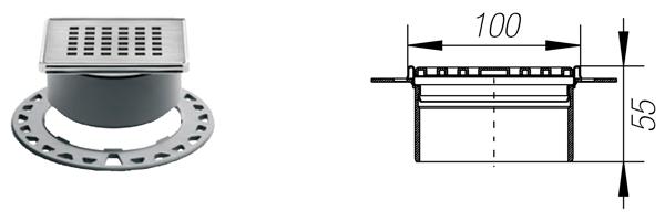 KERDI-DRAIN 1 D - Rejilla sumidero bronceada de 10x10 cm atornillable