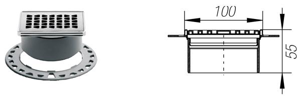 KERDI-DRAIN 2 - Rejilla rombos sumidero de acero inoxidable de 10x10 cm