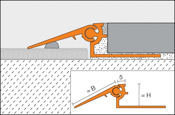 Variable or adjustable height transition profile RENO-V model