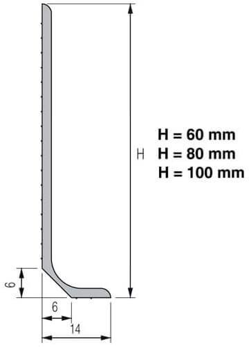 Flexible PVC skirting board or pvc socket floor and wall meeting