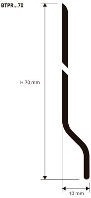 Expanded vinyl resin or PVC skirting, baseboard or plinth.
