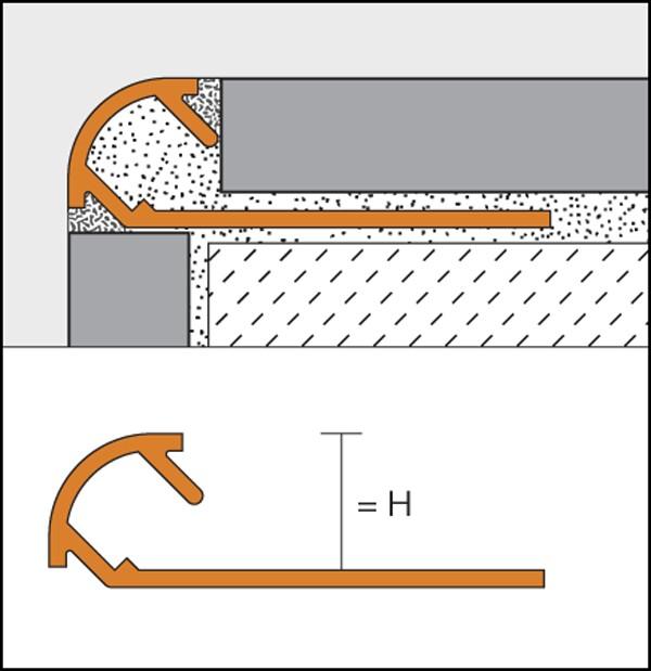 Texturized aluminium rounded edge profile - RONDEC-TS