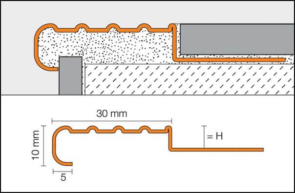 Profili per gradini in acciaio inossidabile antiscivolo TREP-E
