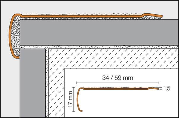 Nez de marche avec bande antidérapante 59x17mm R10 TREP-GLK-B