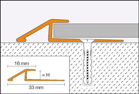 Transition ramp profile for vinyl and LVT type flooring VINPRO-U