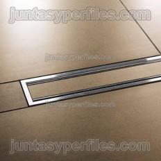 KERDI-LINE-C - Rejilla inoxidable rellenable con marco para platos de ducha de obra