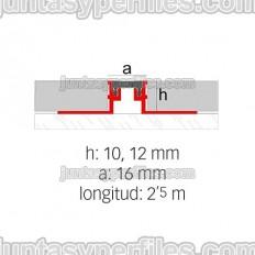 Novojunta Metaflex - Junta de dilatación de aluminio y EPDM - Croquis