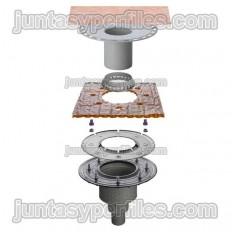 KERDI-DRAIN KDBV50MSBB - Sumidero plato de ducha salida vertical sin sifón para exterior DN50