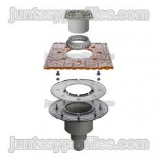 KERDI-DRAIN KDBV50ASLVB - Siphon de douche et siphon sortie verticale sans siphon pour extérieur DN50