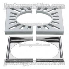 KERDI-DRAIN-RL - Grille en plastique et base en acier inoxydable 15x15 cm avec trou