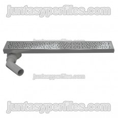 Gouttière et grille inox Sortie horizontale excentrique 90 mm avec siphon pour receveurs de douche de travail