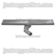 Gutter and stainless grid 90 mm central horizontal outlet with siphon for work shower trays
