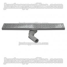 Canaleta y rejilla inoxidable salida horizontal central con sifón para platos de ducha de obra