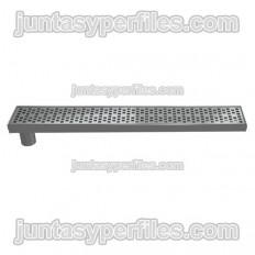 Gouttière et grille inox Sortie latérale verticale 90 mm sans siphon pour receveurs de douche de travail
