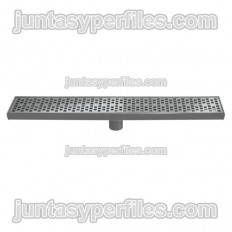 Gouttière et grille inox Sortie verticale centrale 90 mm sans siphon pour receveurs de douche de travail