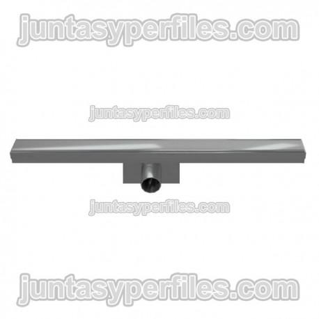 Canaleta y rejilla inoxidable 50 mm salida horizontal central con sifón para platos de ducha de obra