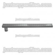 Calha e grelha em inox Saída lateral vertical de 50 mm sem sifão para base de chuveiro de trabalho