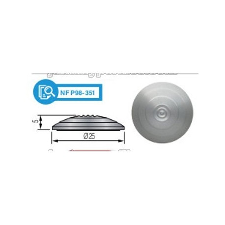 Dinaplot Aluminio - Botón podotáctil sobrepuesto con adhesivo