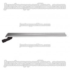 Gutter and stainless grid 90 mm with flap, lateral horizontal outlet and siphon for work shower trays