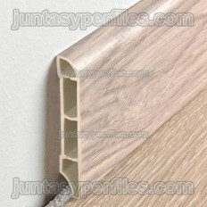 Wood finish expanded vinyl skirting