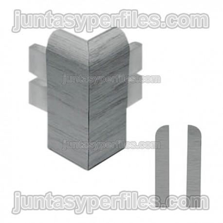 Esquina exterior para rodapie de vinilo expandido acabado madera